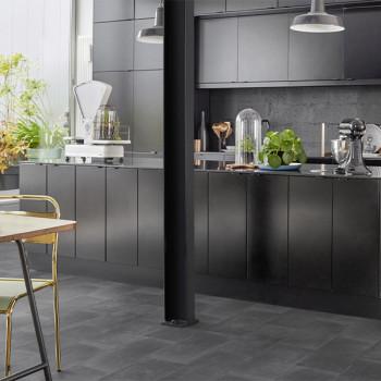 Sol PVC gris foncé imitation carreaux de ciment 2.4 mm