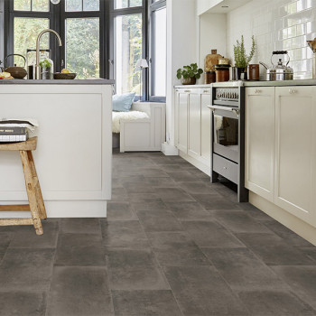 Sol PVC gris foncé imitation carreaux de ciment 2.6 mm