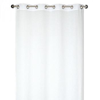 Rideau étamine rayures blanc