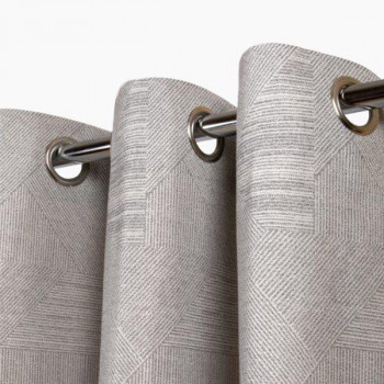 Rideau jacquard patchwork gris