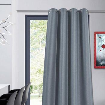 Rideau toile jacquard occultant gris