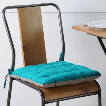 Galette de chaise coton gris turquoise