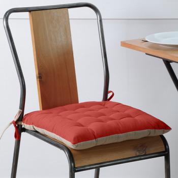 Galette de chaise coton beige rouge