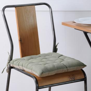 Galette de chaise coton kaki lin