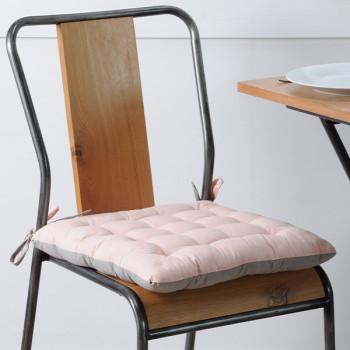 Galette de chaise coton rose gris