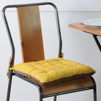 Galette de chaise coton jaune taupe