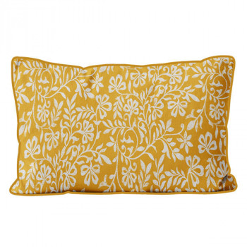 Coussin rectangle floral velours moutarde 32x50 cm