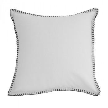 Coussin carré blanc feston noir 40x40 cm