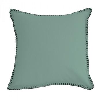 Coussin carré vert d'eau feston noir 40x40 cm