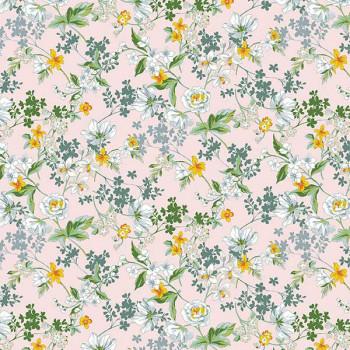 Tissu percale floral rose Oekotex 150 cm