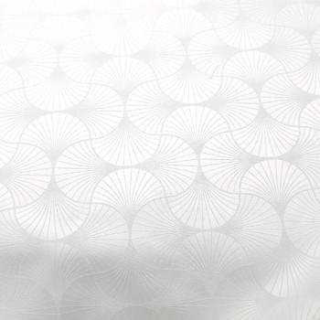 Tissu jacquard eventail blanc 150 cm