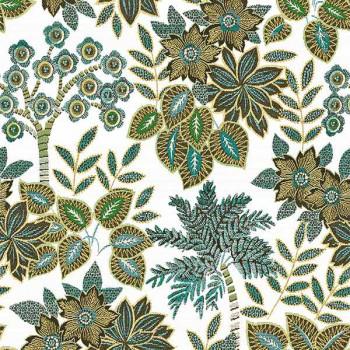 Tissu jacquard végétal vert 140 cm