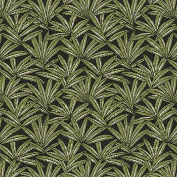 Tissu jacquard végétal vert kaki 140 cm