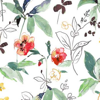 Tissu sergé floral vert Oekotex 150 cm