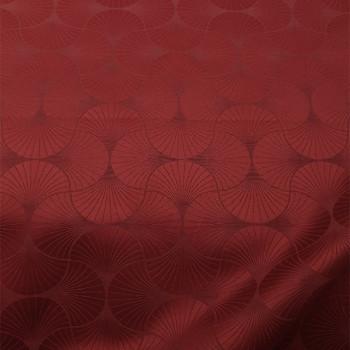Tissu jacquard eventail rouge 150 cm