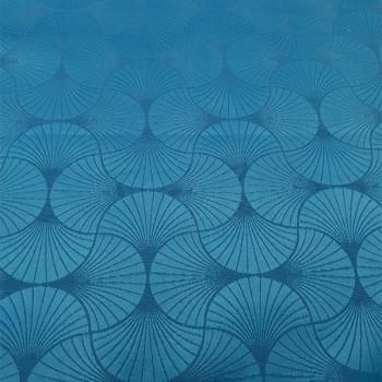 Tissu jacquard eventail bleu 150 cm