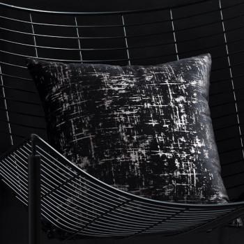 Coussin velours carré noir métallisé 40x40 cm