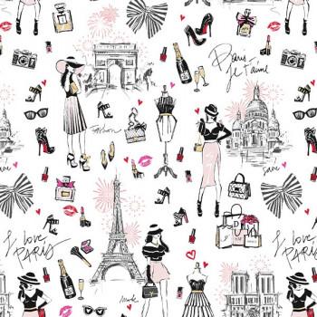 Tissu coton Paris blanc Oekotex 150 cm