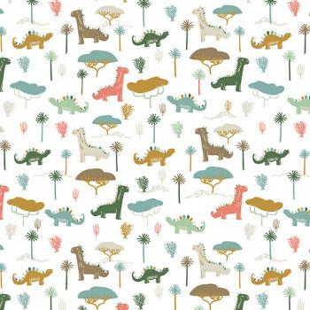 Tissu percale dinosaure multicolore Oekotex 150 cm