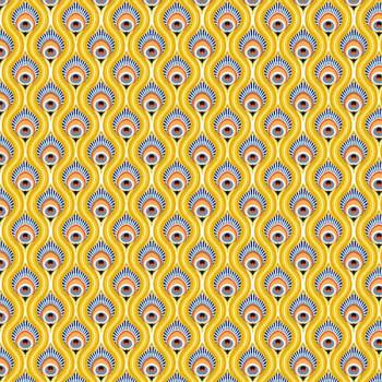 Tissu percale imprimé paon jaune 150 cm