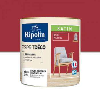Peinture Ripolin Esprit Déco Murs, plafonds, boiseries et radiateurs rouge profond satin 0,5L