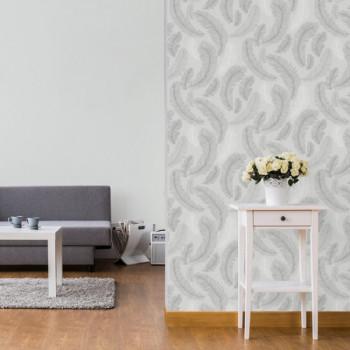 Papier peint intissé lessivable motifs plumes gris