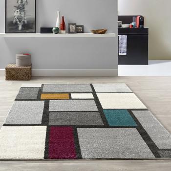 Tapis velours frisé rectangles multicolore 120 x 170 cm