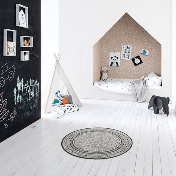 Tapis rond blanc et noir 120 cm