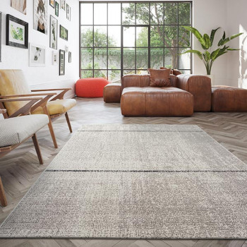 Tapis gris à bandes 160 x 230 cm