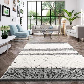 Tapis berbère gris et blanc 200 x 290 cm