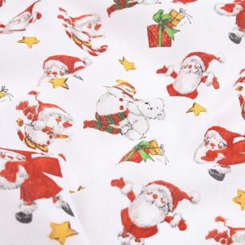 Tissu toile imprimé rouge de Noël