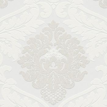 Papier peint intissé lessivable baroque blanc paillettes