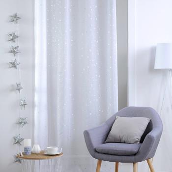 Rideau voile tissé blanc imprimé étoiles