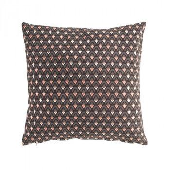 Coussin carré zippé noir imprimé géométrie rose 45x45 cm