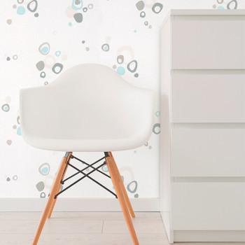 Papier peint vinyle lessivable blanc cercle gris bleu
