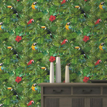 Papier peint vinyle lessivable perroquet