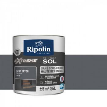 Peinture Ripolin extreme sol gris béton satin 0,5 L