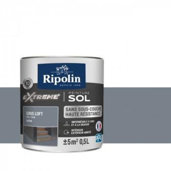 Peinture Ripolin extreme sol gris loft satin 0,5 L