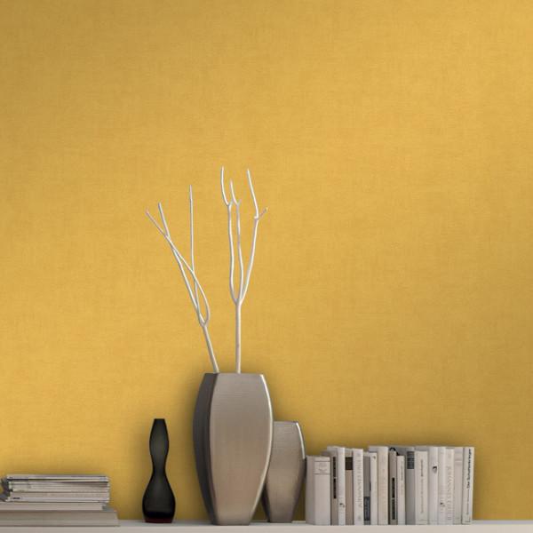 Papier peint uni intissé jaune