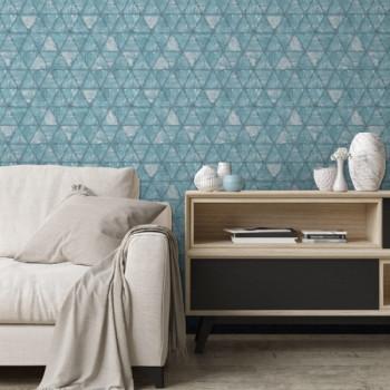 Papier peint intissé lessivable bleu Hexagones