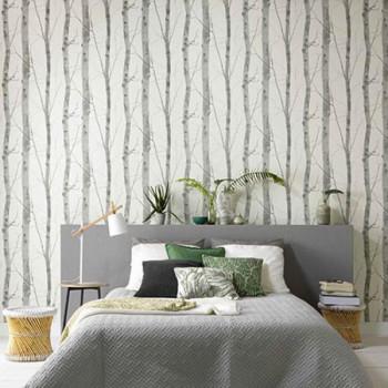 Papier peint intissé lessivable arbre gris