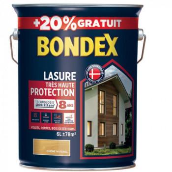 Lasure BONDEX très haute protection 8 ans chêne naturel 6L