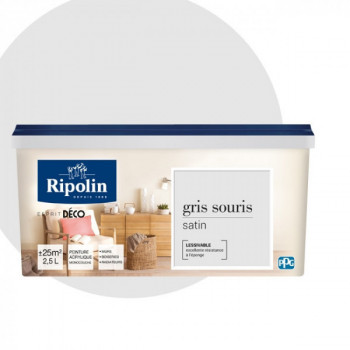 Peinture Ripolin Esprit Déco Murs, plafonds, boiseries et radiateurs gris souris satin 2,5L