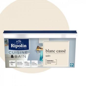 Peinture Ripolin multi-supports Cuisine & bain blanc cassé satin 2L