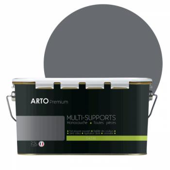 Peinture arto premium multi - supports murs, plafonds, boiseries, plinthes et radiateurs gris basalte satin 2,5 L