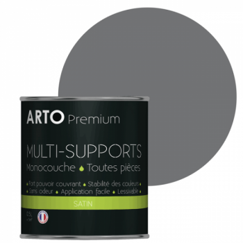 Peinture arto premium multi-supports murs, plafonds, boiseries, plinthes et radiateurs acier satin 0,5 L