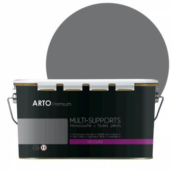 Peinture arto premium multi - supports murs, plafonds, boiseries, plinthes et radiateurs gris acier velours 2,5 L