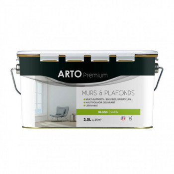 Peinture Arto Premium Murs et Plafonds Blanc Satin 2,5L