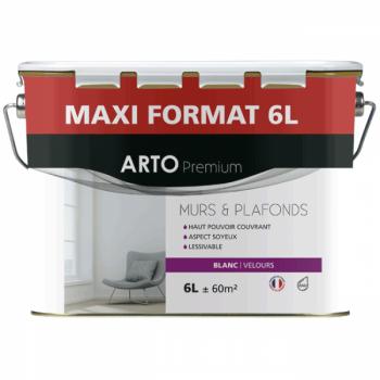 Peinture Arto Premium Murs et Plafonds Blanc Velours 6L