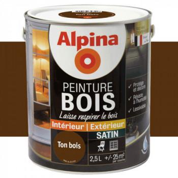 Peinture Alpina spéciale bois miroporeuse ton bois satin 2,5L